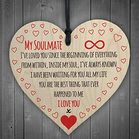 Red Ocean My Soulmate I Love You Wooden Hanging Heart Plaque Cute