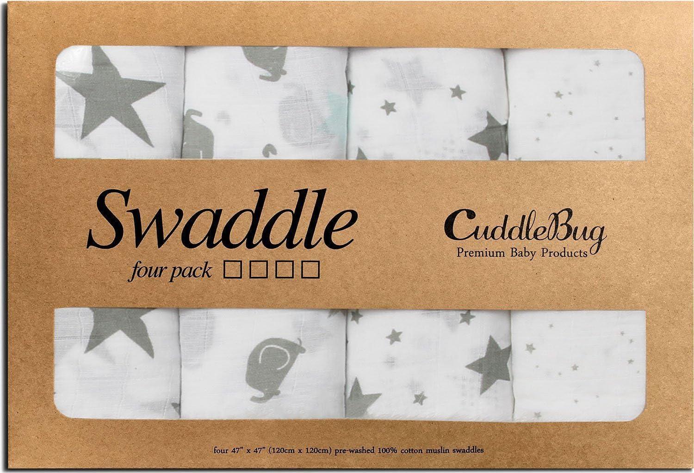 Mantas de Muselina Unisex CuddleBug - Paquete de 4 - Sabanas de Envolver, Paños de Algodon 100% Muselinas Infantil - Tamaño Grande 120x120cm - Mantas Suaves de Lactancia Multiuso - Estrellas (Starry N