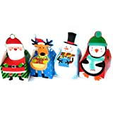 Christmas Cookie and Treat Boxes - 16 Count Holiday Character Boxes: Santa, Reindeer, Snowman and Penguin - Great for Cookies, Treats, Chocolates or Small Xmas Gifts