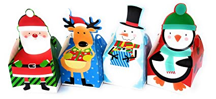 Christmas Cookie And Treat Boxes 16 Count Holiday Character Boxes Santa Reindeer Snowman And Penguin Great For Cookies Treats Chocolates Or