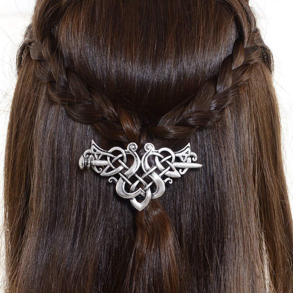 Viking Celtic Hair Sticks Hairpin-Viking Hair Clip Men Antique Silver Hair Sticks Hairpin Triangle Clips for Long Hair Stick Slide Irish Hair Accessories Celtic Knot Hair Pin Viking Jewelry Women