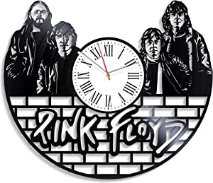 Kovides Minimalist Decor for Living Room Pink Floyd Clock Birthday Gift for Fan Rock Band Wall Clock Vintage Vinyl Record Clock Pink Floyd Music Art Home Decor Wall Clock Modern Pink Floyd Gift