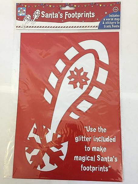 Santas footprint stencil with reindeer footprints world map santas footprint stencil with reindeer footprints world map stickers and glitter gumiabroncs Images