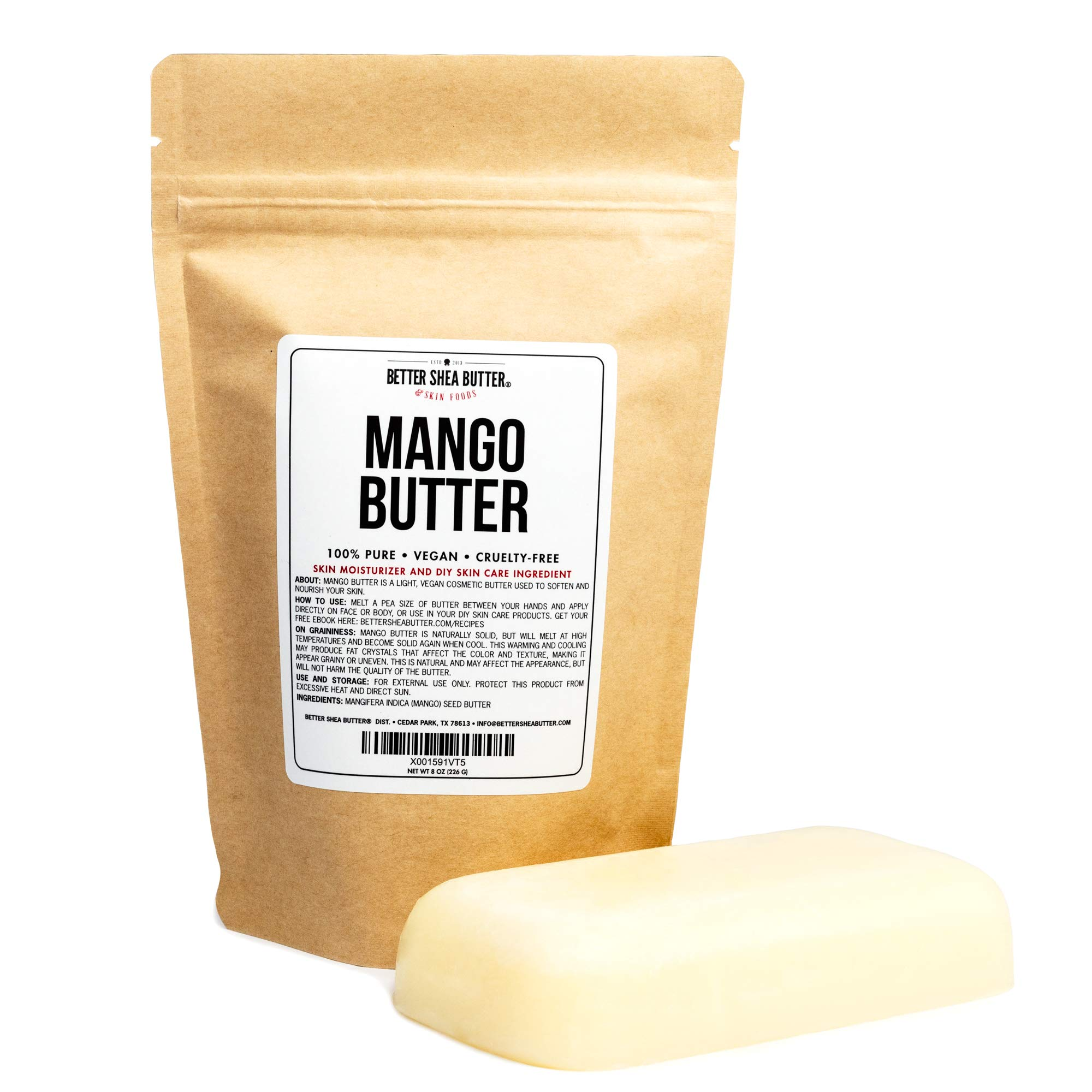 100% Pure Mango Butter - Can Substitute Shea Butter in Soap and Lotion Recipes - Moisturizing, Scent-free, Hexane-free - 8 oz by Better Shea Butter by Better Shea Butter