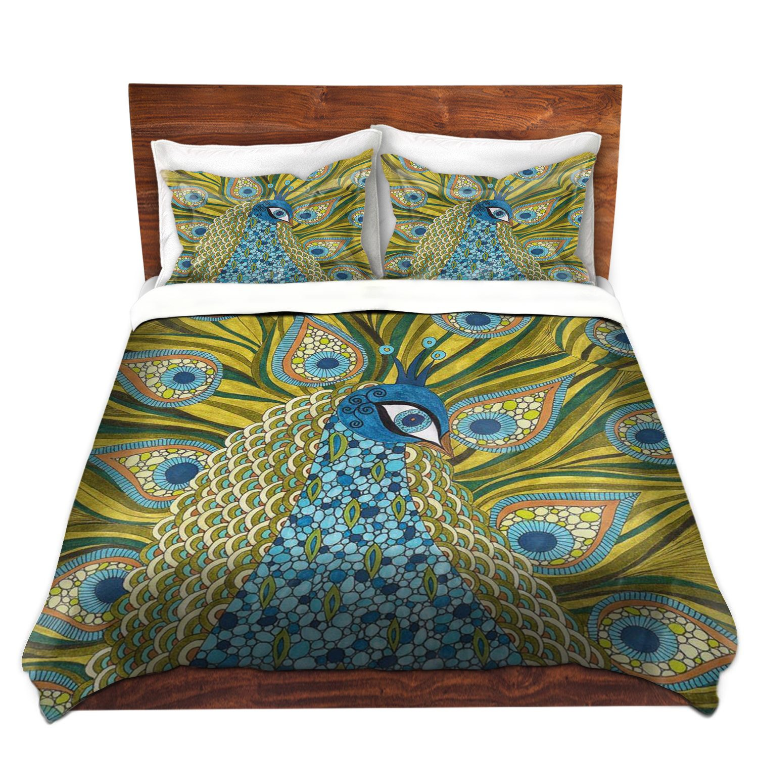 DiaNoche Designs Valerie Lorimer the Peacock Brushed Twill Home Decor Bedding Cover, 7 Queen Duvet Sham Set