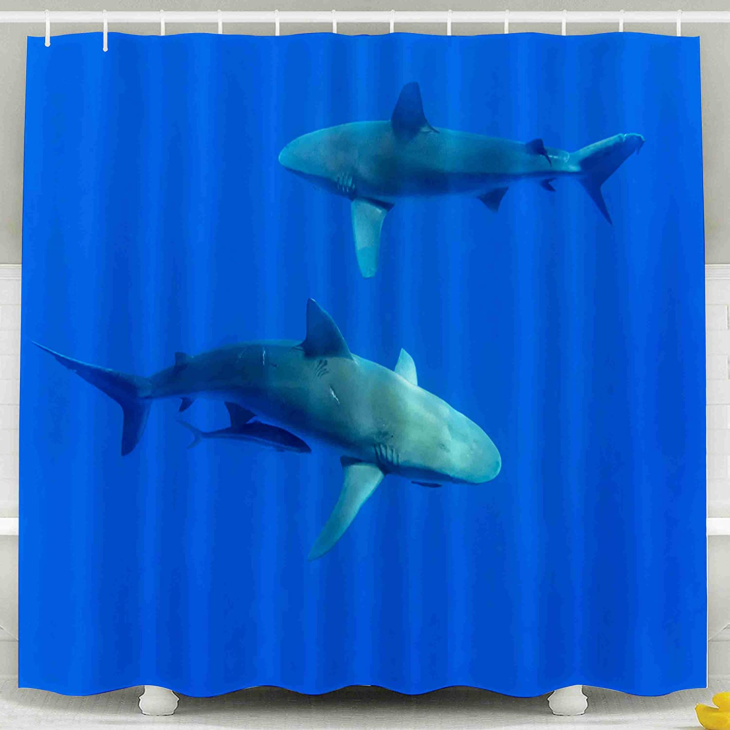 Tooperue Shower Curtain for Bathroom with Hooks Sharks Hawaii Oahu 78×72 Inch,Eco-Friendly,No Oder,Waterproof,Red Orange