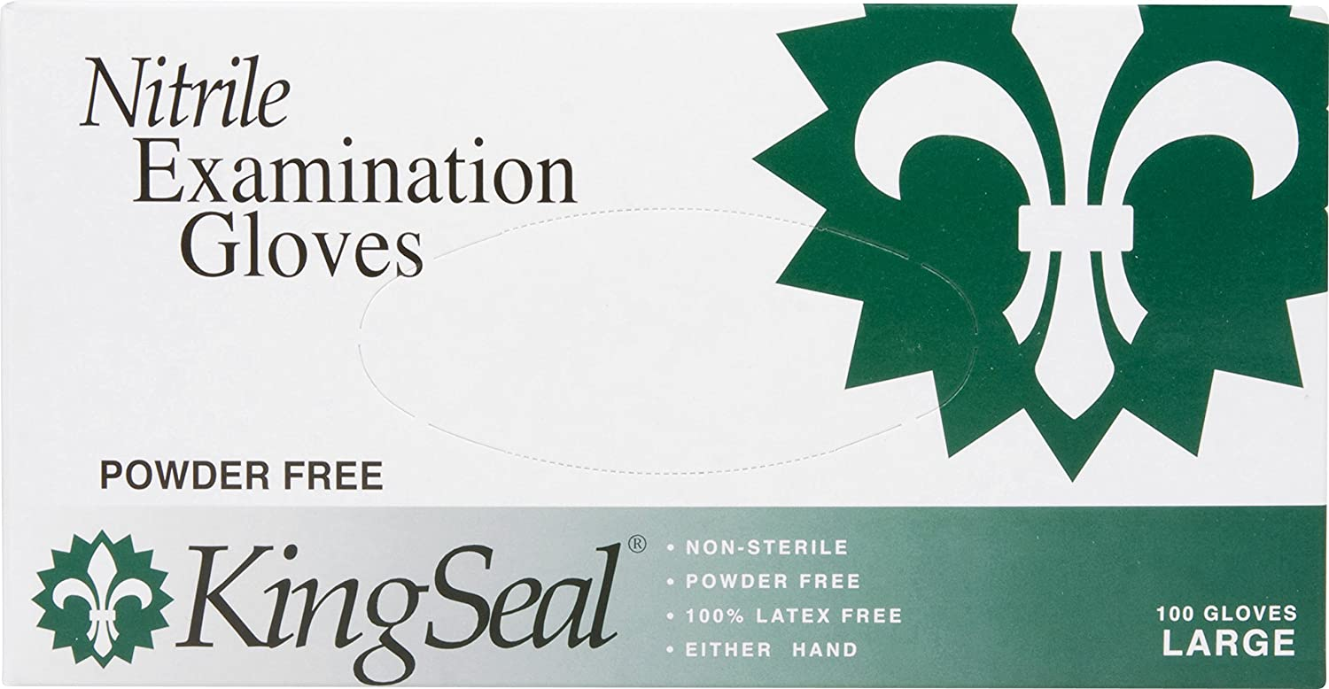 KingSeal Nitrile Examination Gloves, Powder-Free, Blue, Medical Grade, 5 mil, Large, 4 bx/100 per Case
