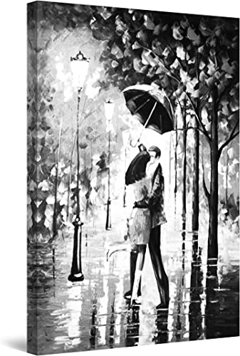 Startonight Canvas Wall Art Black and White Abstract Kissing