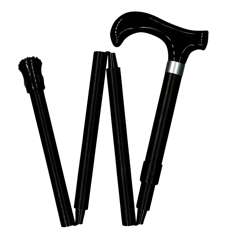 サンビーム CH540 イージーフィット アルミ製4段折ステッキ(上部可動式) 手元アクリル新型(黒) 黒無地 B01HM5HS96