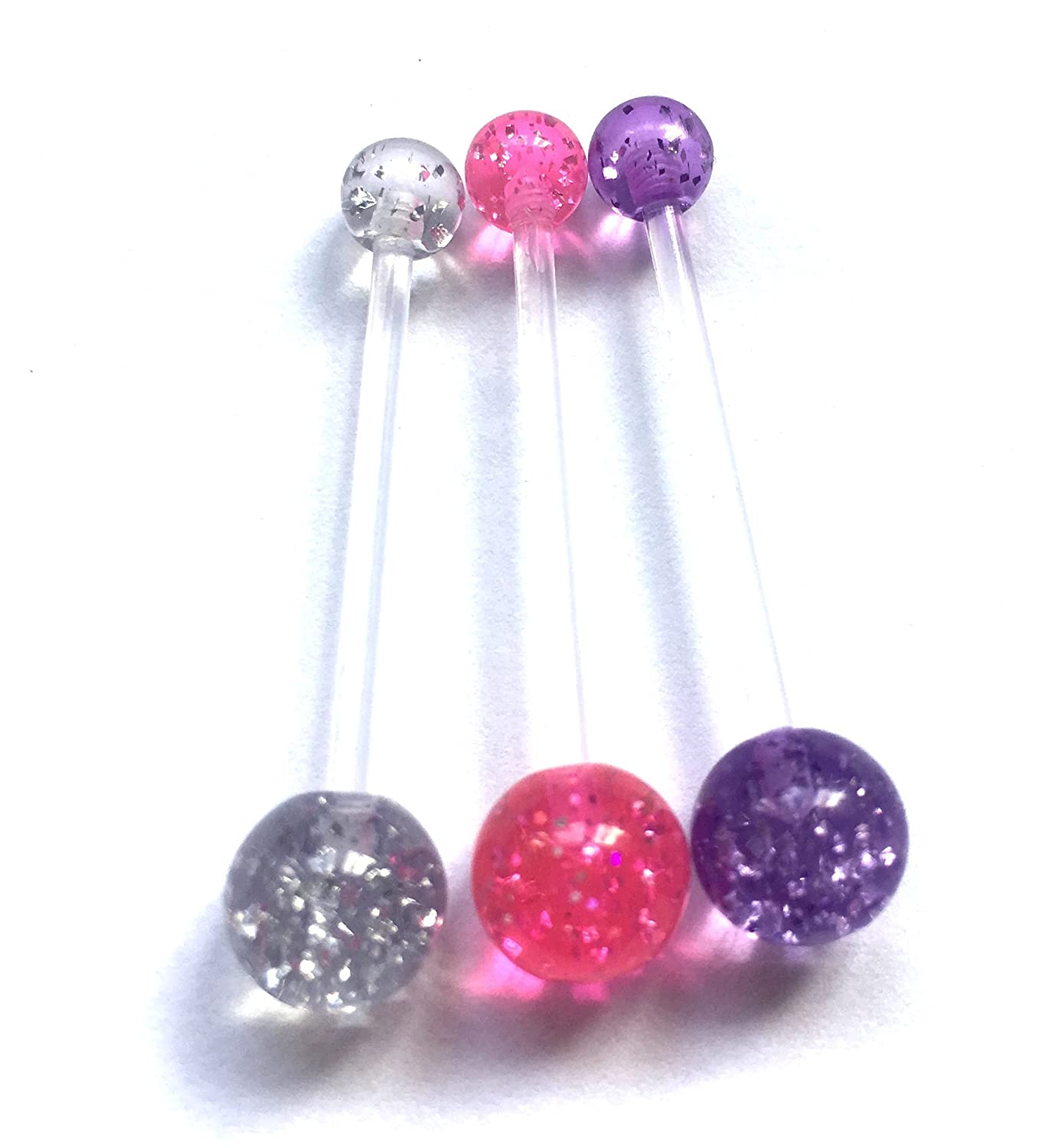 Loving My Bump Set 3 Glitter Pregnancy Maternity Belly Navel Bar Bars button ring retainer Flexible Glitter choose a colour or Set of 3 or 4 (Clear pink purple)