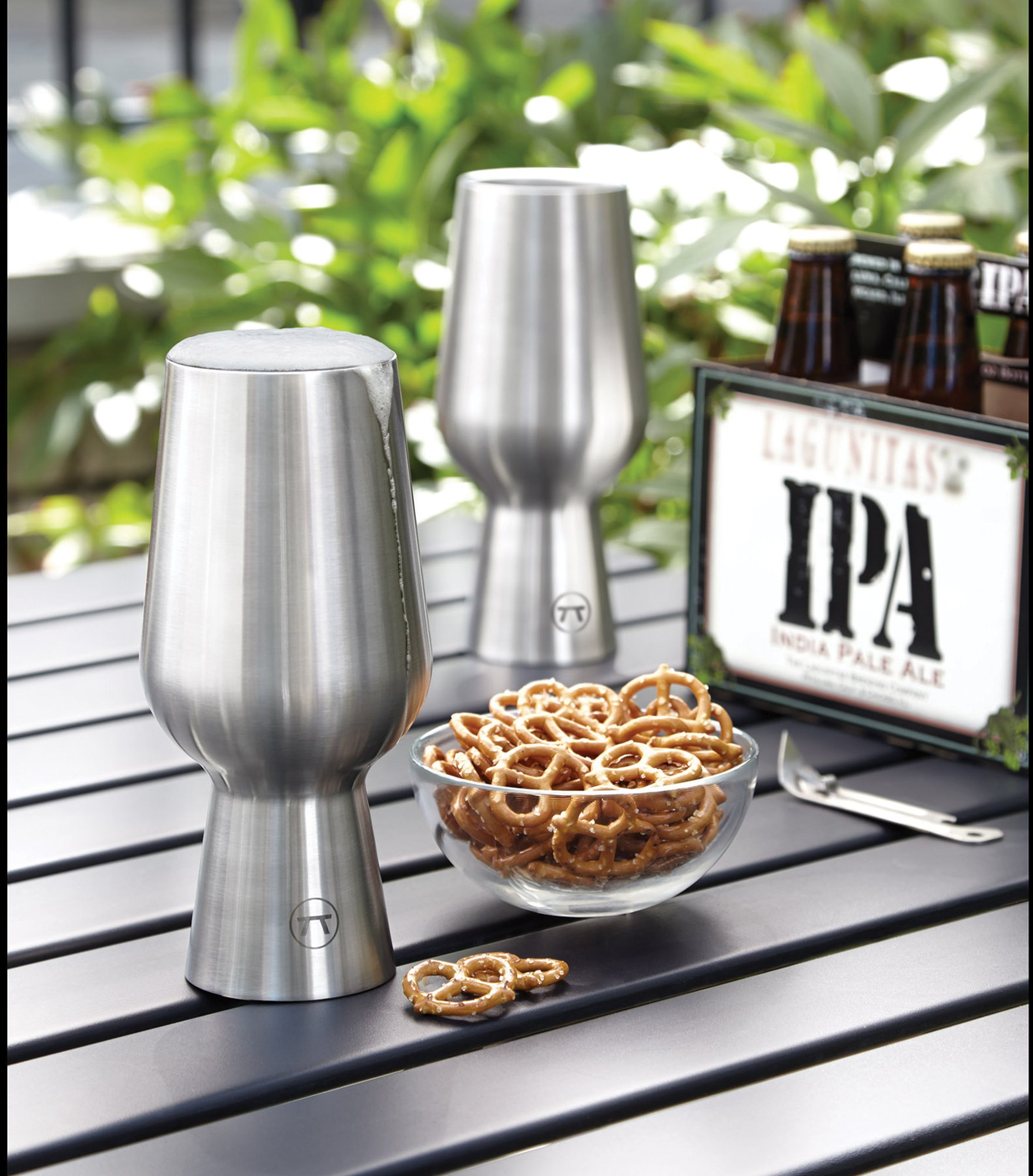 Outset 76451 Beer Chalice Double Wall Ipa Glass, Set of 2, Stainless Steel by Outset (Image #2)