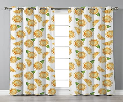 Thermal Insulated Blackout Grommet Window CurtainsOrangeWatercolor Slices Of Orange Fruit With Green
