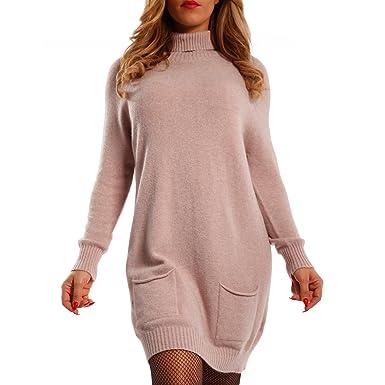 b692e007af1 Young-Fashion Damen Oversize Strickkleid Long Pullover mit Rollkragen