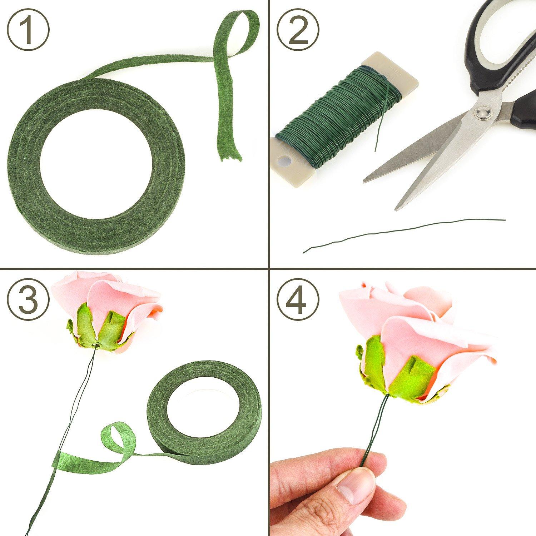 1/2 Zoll Flora Kreppband, 22 Gauge Floral Wire und 100 Stück ...