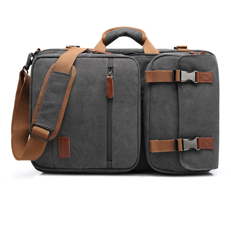 CoolBELL Convertible Briefcase Backpack Messenger Bag Shoulder Bag Laptop Case Business Briefcase Travel Rucksack Multi-Functional Handbag Fits 17.3 inch Laptop for Men/Women (Canvas Dark Grey)