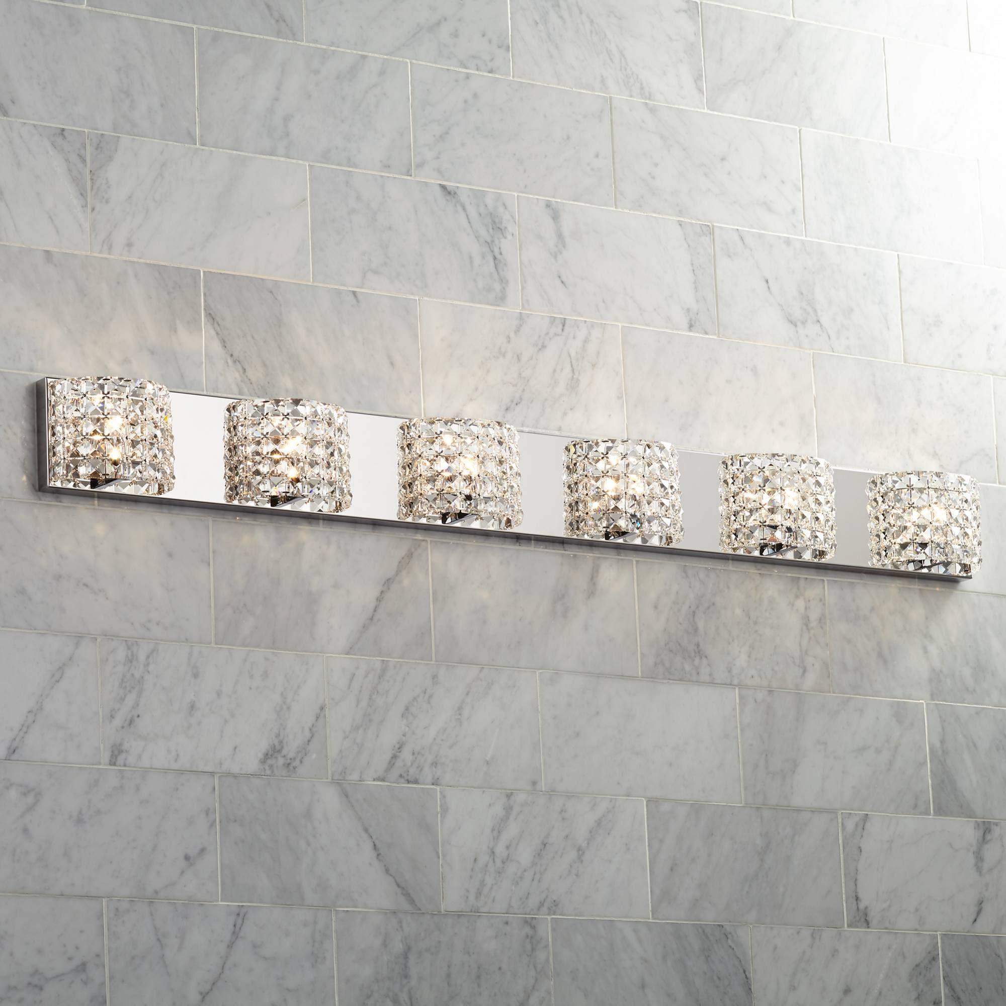 Vienna Full Spectrum Cesenna 55''W 6 Light Crystal Bath Light - Vienna Full Spectrum