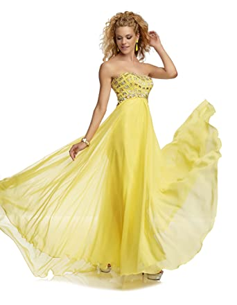 Mori Lee 95012 Paparazzi Strapless Prom Dress, Sunflower, 8