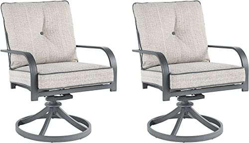 Signature Design by Ashley – Donnalee Bay Outdoor Swivel Lounge Chair – Set of 2 – Rust Free Aluminum – Dark Gray