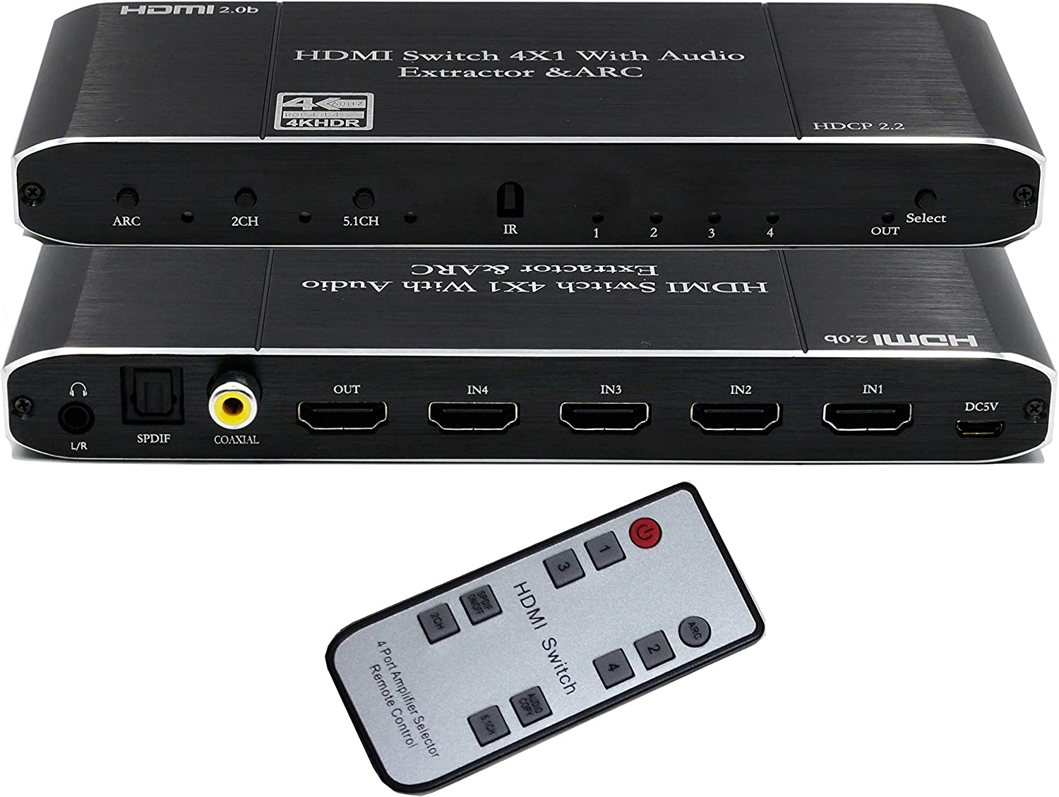 HDMI Switch 4x1 hdmi Audio Extractor 4K@60Hz with Optical SPDIF/Coaxial/ 3.5mm L/R Audio Extractor Support HDMI 2.0b HDCP 2.2 ARC Function