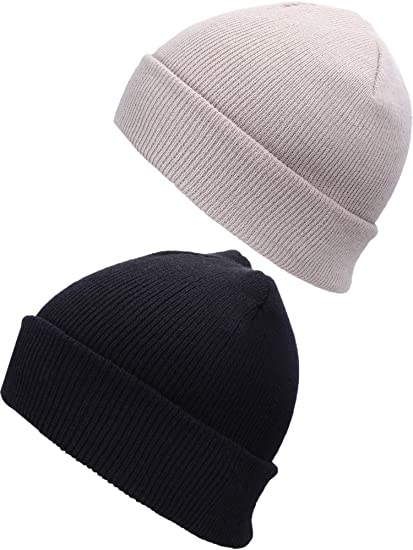 e7af177ef Bememo 2 Pieces Winter Knit Beanie Hat Warm Skull Ski Hat for Both Men and  Women Outfits Accessory