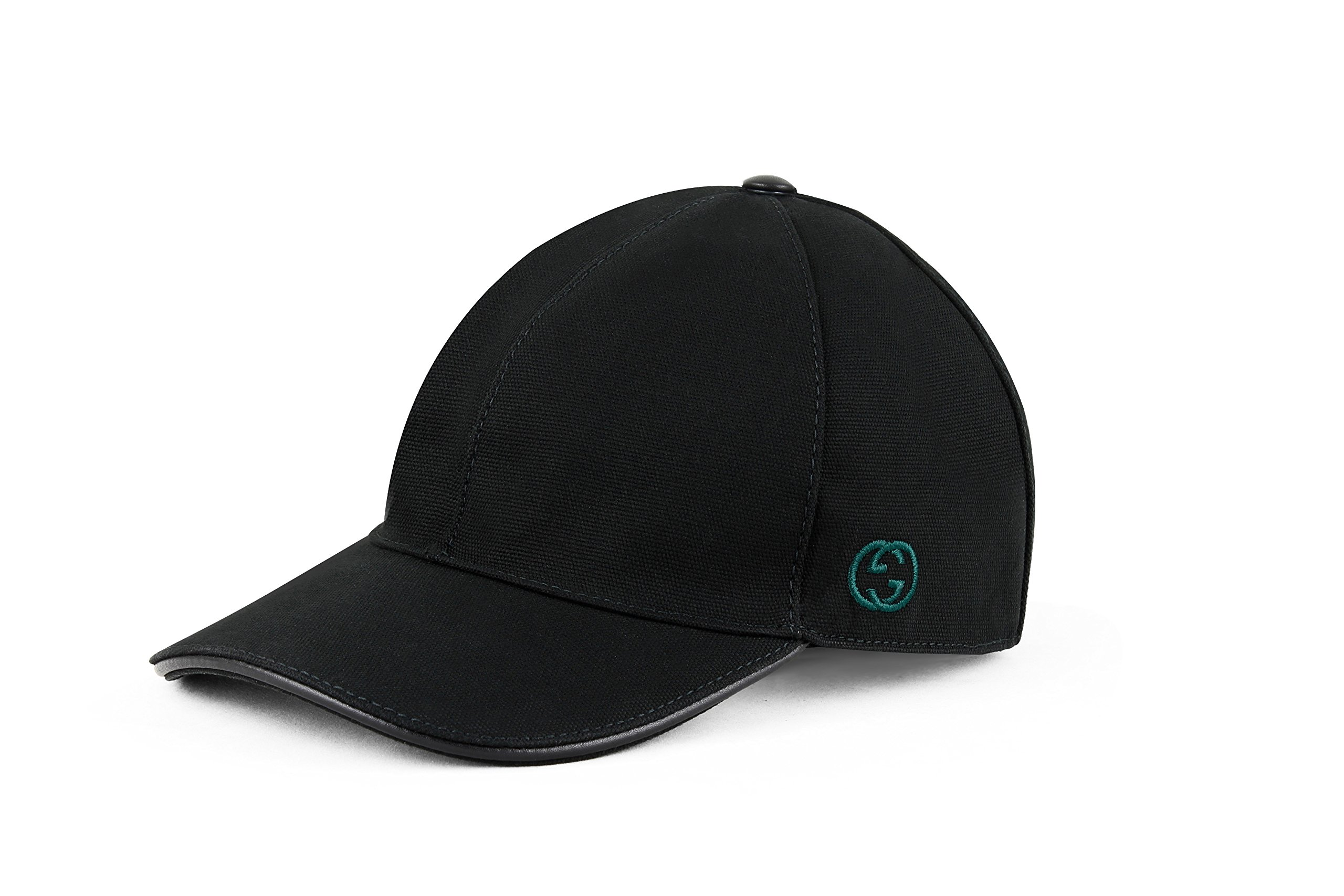 Gucci Cotton Canvas With GG Detail Baseball Cap, Black (Nero) 387554 (X-Large)