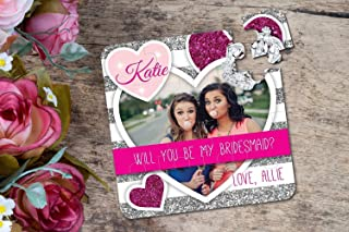 Will You Be My Bridesmaid Gift Custom Photo Gift Puzzle in Silver and Hot Pink. Bridesmaid Proposal. Any TITLE Custom Puzzle Wedding Gift Puzzle