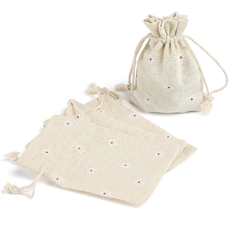 Naler 24pcs Saco de Yute de Lino Saco con cordón Bolsas de Regalo Bolsitas Bolsitas de joyería de la decoración del Partido de la Vendimia Envoltura Daisy Flower 9.5cm x 13cm