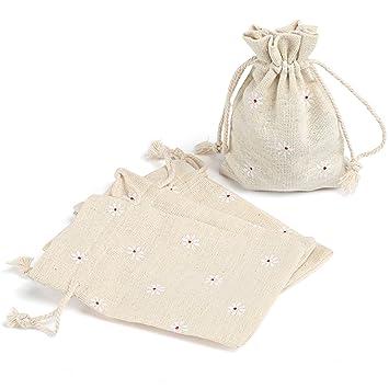 Naler Calendrier de l'avent Jute Lin Naturel Petit Sac Simple Pochette Sacs Bijoux Mariage Noël Pochette à Bijoux Sac Cadeau à Cordon 24 PCS 10 * 14cm