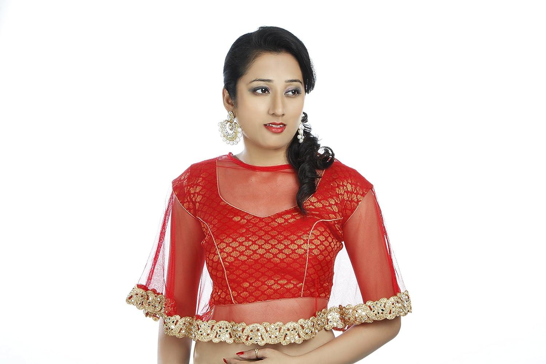 Daniya Trends V-Neck Women's Stitched Red Banarsi Net Cape Blouse