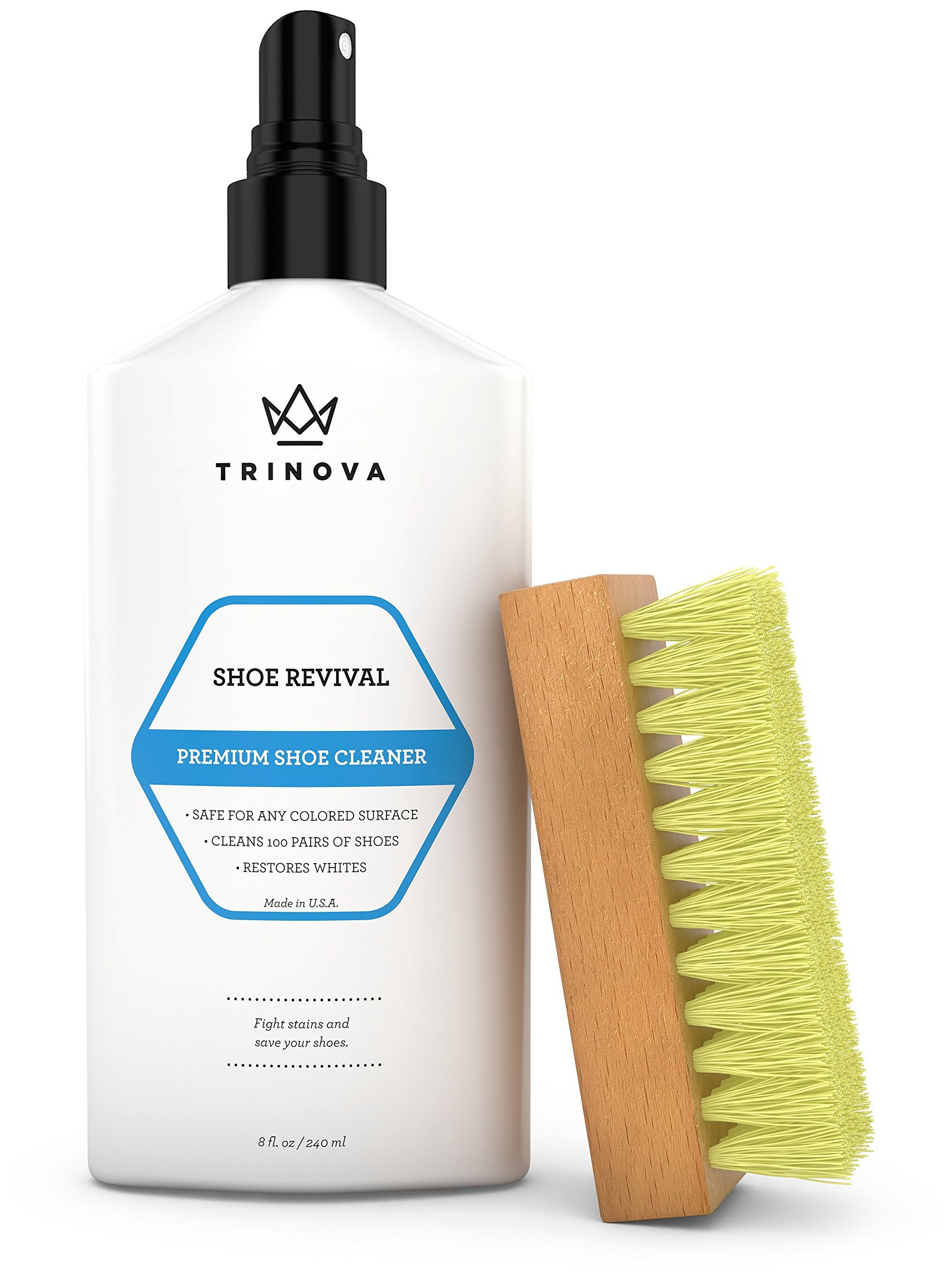 TriNova Shoe Cleaner Kit - Tennis, Sneaker, Boots, More - Premiun Cleaning to Remove Dirt and Stains. Free Brush 8OZ by TriNova (Image #1)