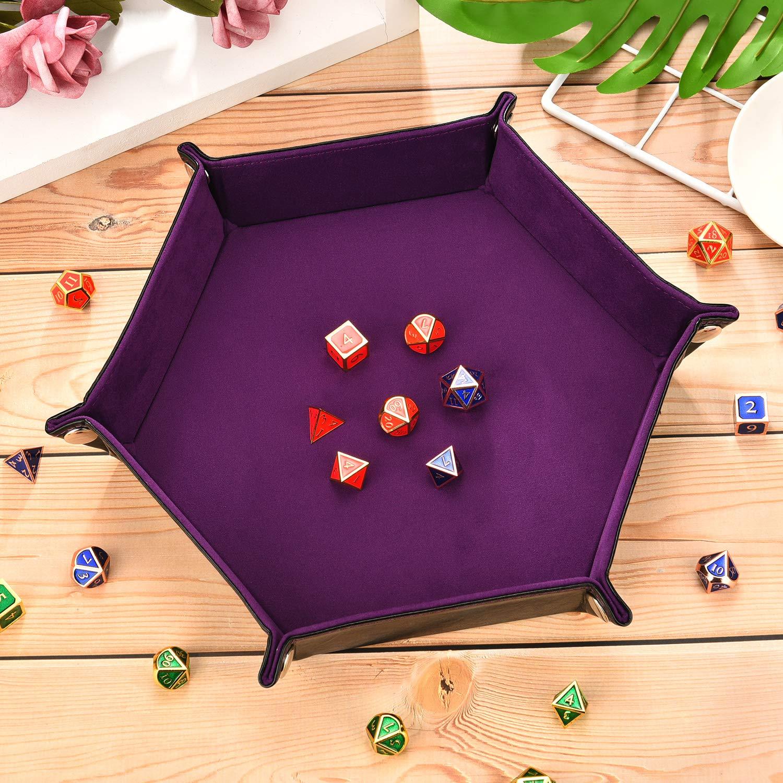 DND 2 Pi/èces Plateau /à D/és en Cuir PU Plateau Hexagonal Pliant Porte-D/és en Velours Double Face pour RPG Autres Jeux de D/és et Stockage
