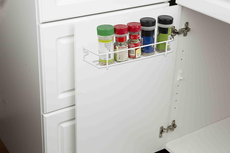 HOME BASICS SR44715 Inside Cabinet Door Spice Rack Organizer, White