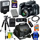 Canon Powershot SX60 HS 16.1MP Digital Camera 65x Optical Zoom with tilt LCD screen, Wi-Fi & NFC Enabled (Black) International Version + Flash + 11pc 64GB Accessory Kit w/HeroFiber Cleaning Cloth
