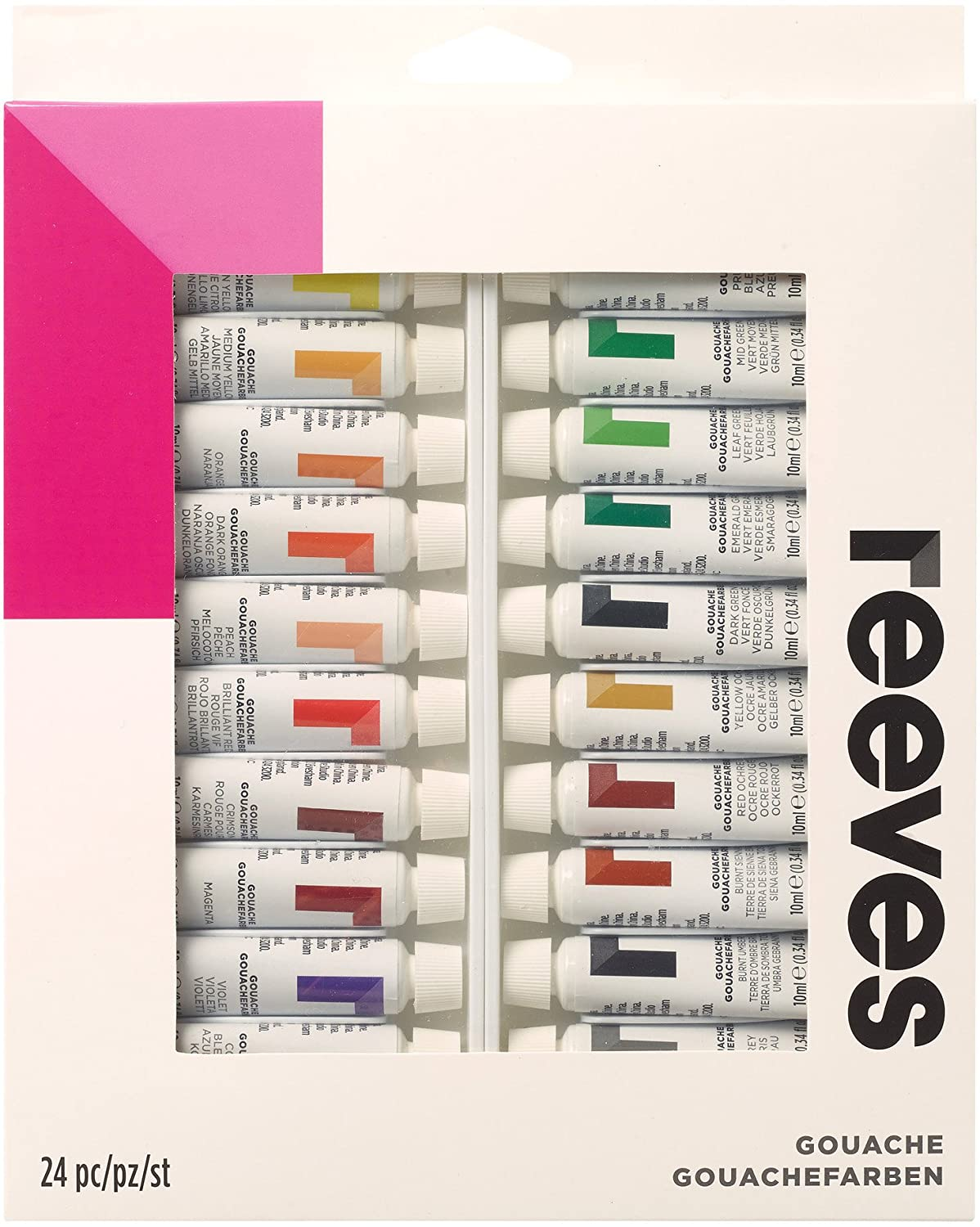 Amazon Reeves 24 Pack Gouache Color Tube Set 10ml