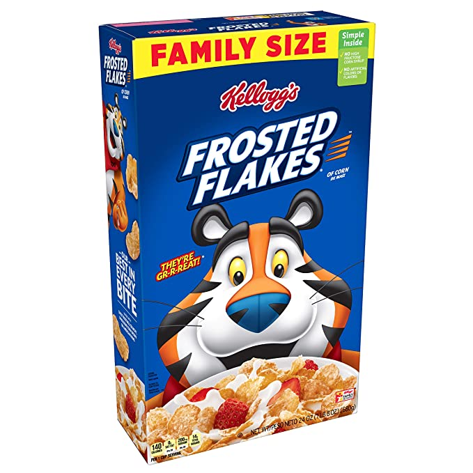 Kellogg's Frosted Flakes Cereal - Sweet Breakfast that Lets Your Great Out, Fat-Free, Family Size, 24 oz Box