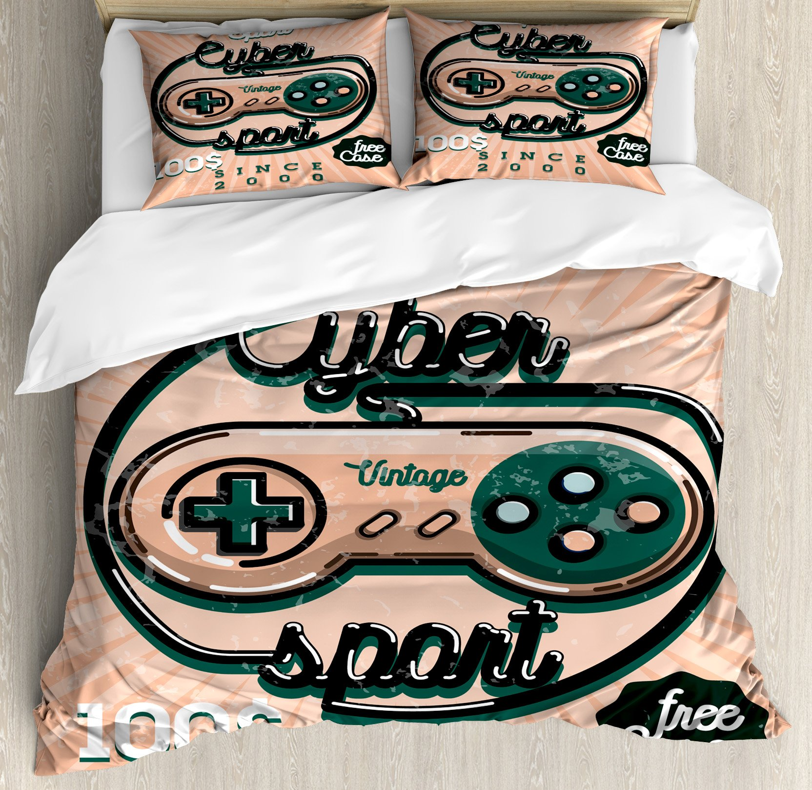 Gamer Queen Size Duvet Cover Set by Lunarable, Vintage Videogame Controller with Cyber Sport Quote Nineties Retro Design, Decorative 3 Piece Bedding Set with 2 Pillow Shams, Coral Emerald Black