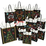 KD KIDPAR Christmas Gift Bags Glow in Dark Design 24 Bags in 4 Different Designs, 8 Large, 8 Medium, 8 Small & 24 Tissue…