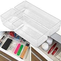 Hausfelder ORDNUNGSLIEBE Schubladen Organizer Ordnungssystem - zur Aufbewahrung für Küche Büro Schminktisch Kosmetik, variabel und transparent aus Kunststoff