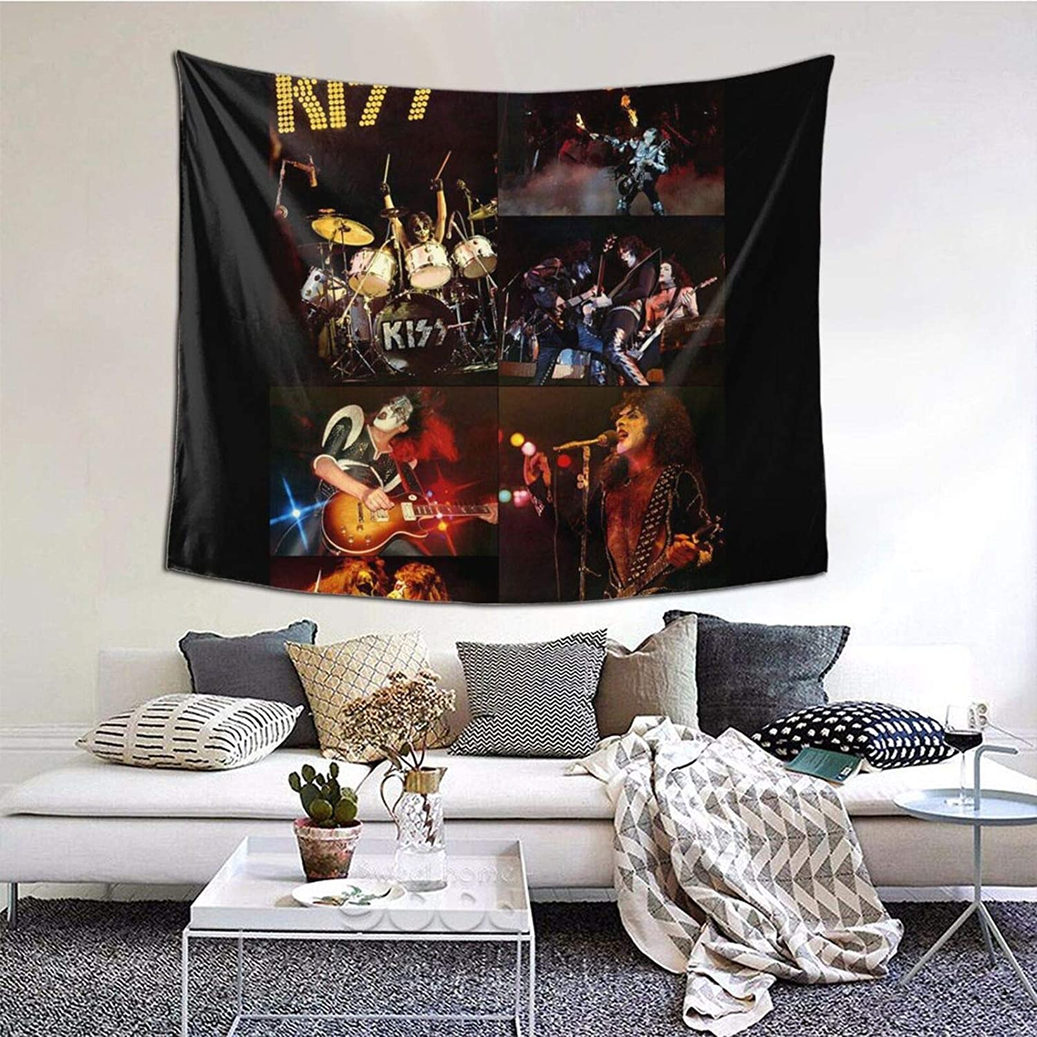 Tiyole Kiss-Rock-Band Tapestry Wall Hanging Colorful Mural for Bedroom Living Room Dorm Home Decorate Blankrt One Size