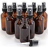 Vivaplex VAM1-12 12 Glass Bottles with Black Fine Mist Sprayer, 1 oz, Amber