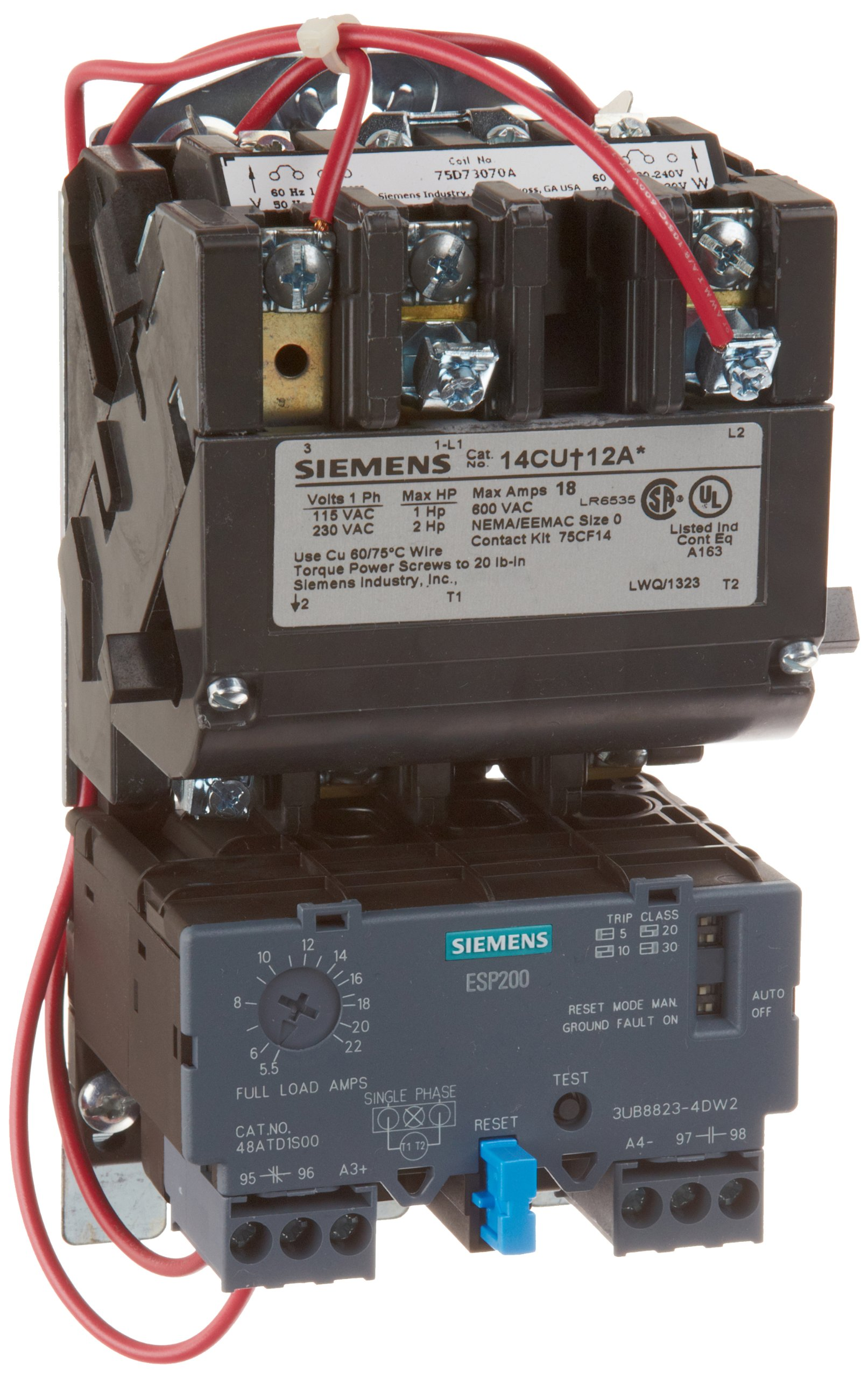 Siemens 14CUD12AA Heavy Duty Motor Starter, Solid State Overload, Auto/Manual Reset, Open Type, Standard Width Enclosure, Single Phase, 2 Pole, 0 NEMA Size, 5.5-22A Amp Range, A1 Frame Size, 110-120/220-240 at 60Hz Coil Voltage