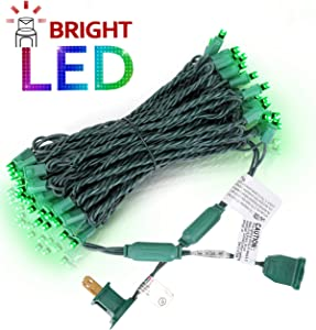 AIDDOMM LED Christmas Lights 50 Counts, for Outdoor and Indoor, Commercial Grade, Green Light, Green Wire, 25ft, UL Listed