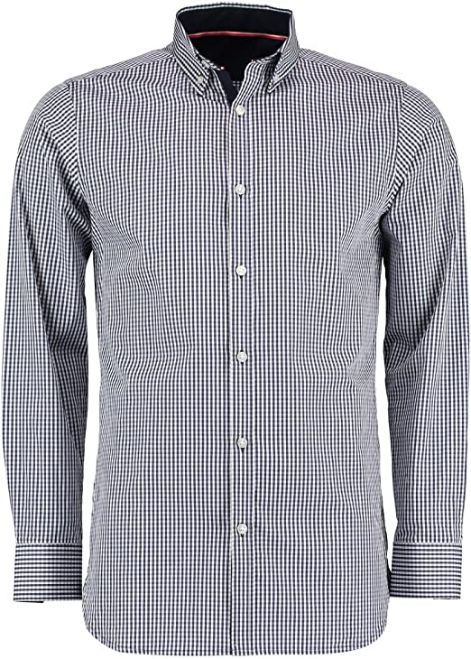 LUCKYMEN Mens Regular-Fit Long Sleeve Work Casual Poplin Shirt Plaid Slim Fit Button Down Dress Shirt