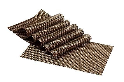 Kuber Industries PVC 6 Piece Placemat Set - Brown