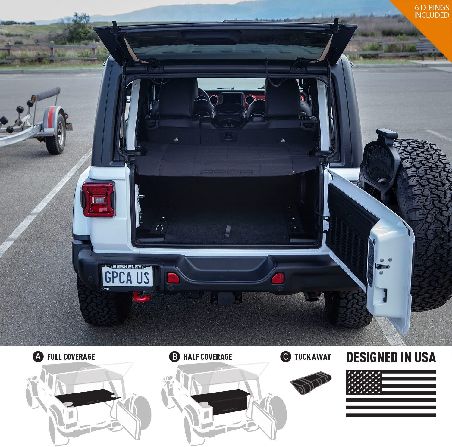 Amazon Com Gpca Cargo Cover Lite Compatible With Wrangler Jl 4dr Sport Sahara Rubicon Unlimited 2018 2021 Under Hardtop Automotive