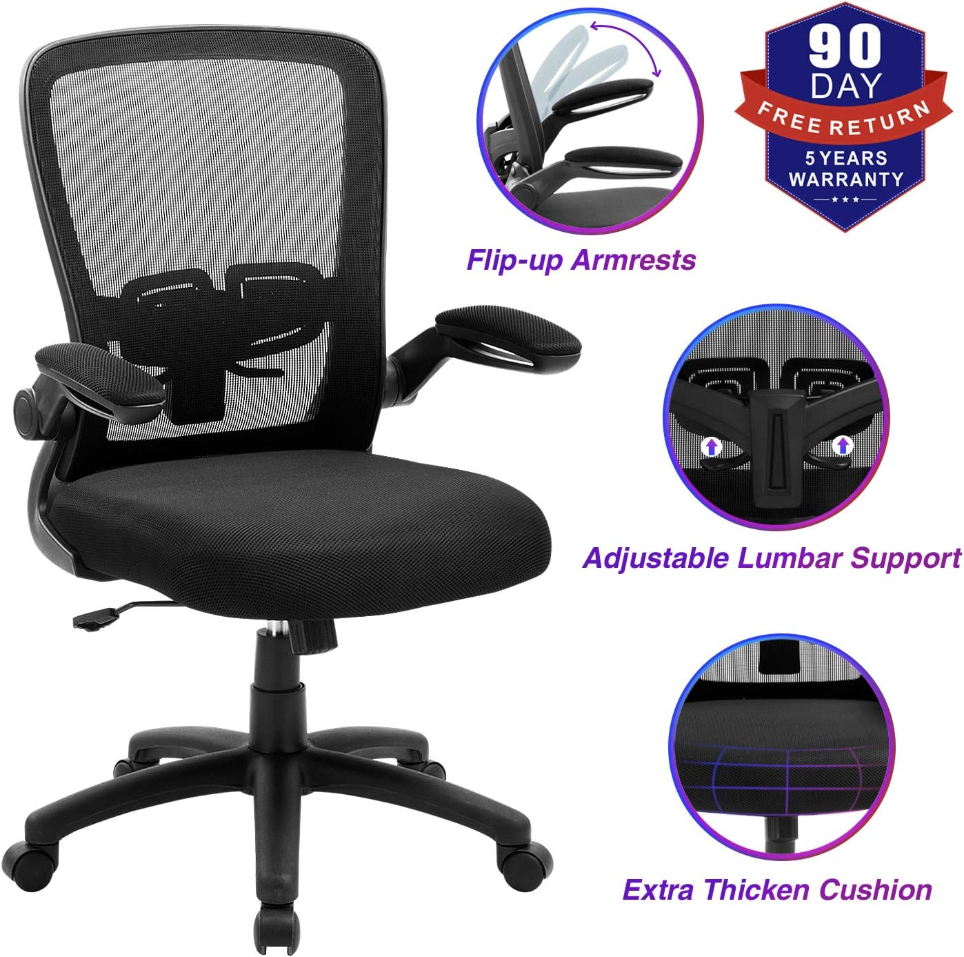 Amazon Com Office Chair Zlhecto Ergonomic Desk Chair With Adjustable Height And Lumbar Support High Back Mesh Computer Chair With Flip Up Armrests For Conference Room 300lb Weight Capacity Kitchen Dining