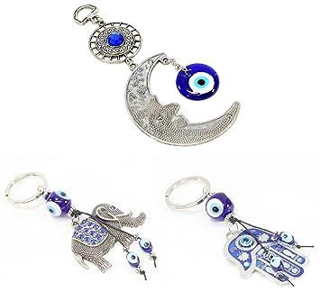 Amazon.com: Azul Mal de ojo PLATA Moon amuleto + Hamsa Mano ...