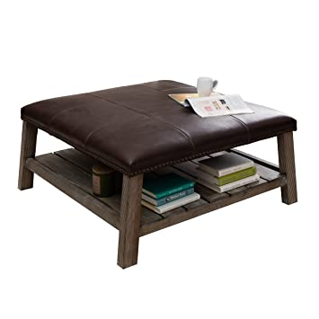 Rustic Leather Ottoman Coffee Table.Amazon Com Modern Rustic Leather Upholstered Accent Coffee Table