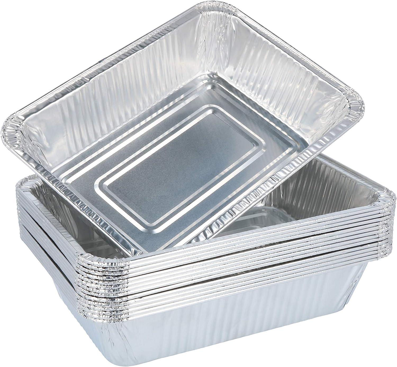 com-four® tazón para Parrilla 15x, tazones Desechables de Aluminio, asadera de Aluminio para Asar, cocinar y Hornear, Bandeja de Goteo para Horno, Parrilla y Barbacoa (015 Piezas - 22 x 15.5 x 5 cm)