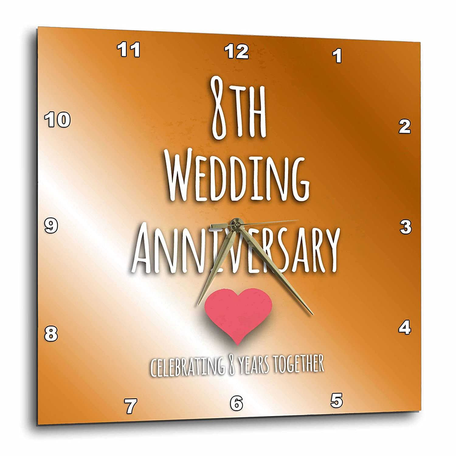 3dRose DPP/_154439/_2 8Th Wedding Bronze Celebrating 8 Years Together Eighth Anniversaries Eight Yrs Wall Clock 13 by 13-Inch
